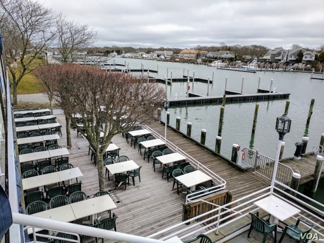 The Flying Bridge in Falmouth, Massachusetts hosts waterfront banquets and special events during the tourist season. During the offseason, it remains closed.