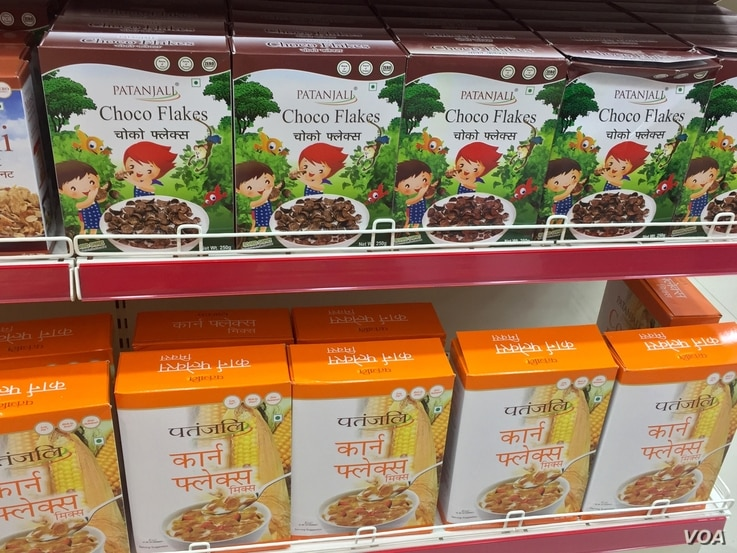 The range of products offered by Patanjali include those in demand by modern urban consumers such as cereal and muesli. (A. Pasricha / VOA)