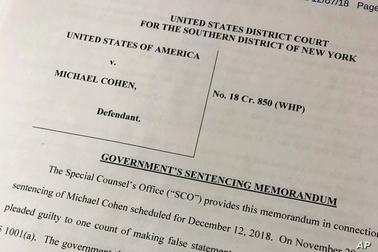 A portion of a court filing by prosecutors from the special counsel's office released Friday, Dec. 7, 2018, laid out for the first time details of Cohen's cooperation with investigators and took positions on the punishment he should face.