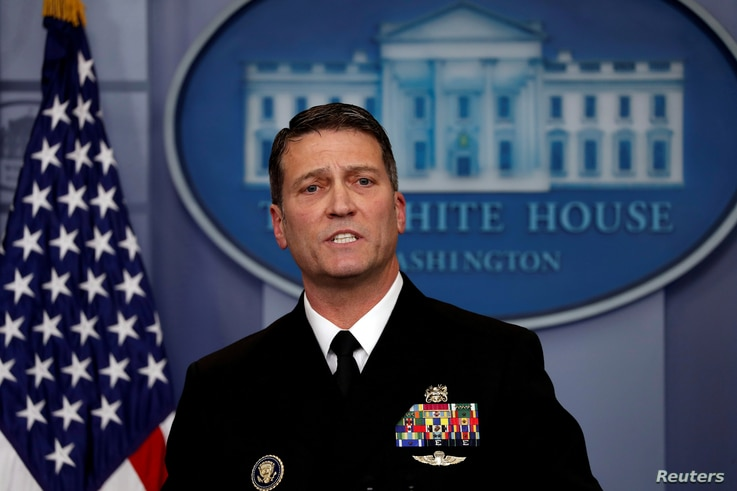 FILE - White House physician Ronny Jackson answers questions about U.S. President Donald Trump's health after the president's annual physical during the daily briefing at the White House in Washington, Jan. 16, 2018.