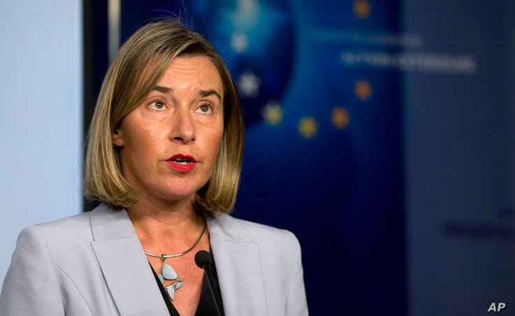 European Union foreign policy chief Federica Mogherini speaks during a media conference after a meeting of the EU3 and Iran at EEAS headquarters in Brussels, Jan. 11, 2018.