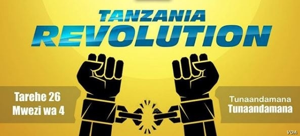 A sign on U.S.-based Tanzanian activist Mange Kimambi's Instagram account calls for 'Tanzania Revolution' on April 26. It says, at lower right, 'We are going to protest.'