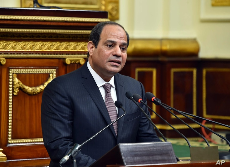 In this photo provided by Egypt's state news agency MENA, Egyptian President Abdel-Fattah el-Sissi, addresses parliament in Cairo, Feb. 13, 2016.