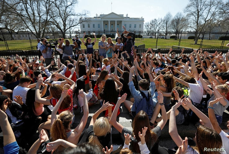 Students who walked out of their Montgomery County, Maryland, schools protest against gun violence in front of the White House in Washington,  Feb. 21,  2018.