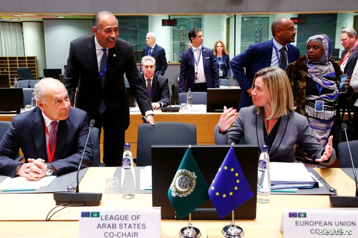 Arab League Secretary-General Ahmed Abul Gheit and EU foreign policy chief Federica Mogherini attend a joint meeting of European Union and League of Arab States foreign ministers in Brussels, Belgium, Feb. 4, 2019.