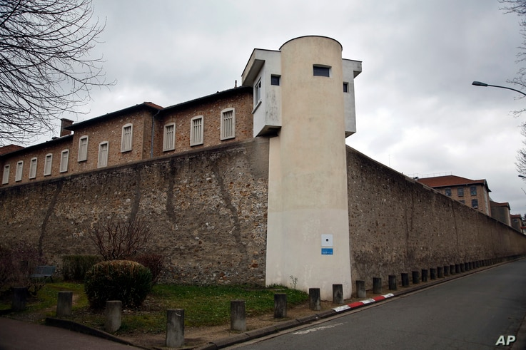 FILE - The exterior of Fresnes prison is seen outside Paris, France, Jan. 15, 2018.