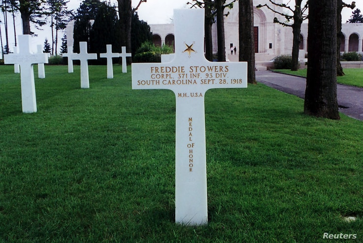 Between 1991 and 1997, the Medal of Honor was bestowed posthumously on black World War One hero Corporal Freddie Stowers, who rests in a U.S. cemetery in rural France.