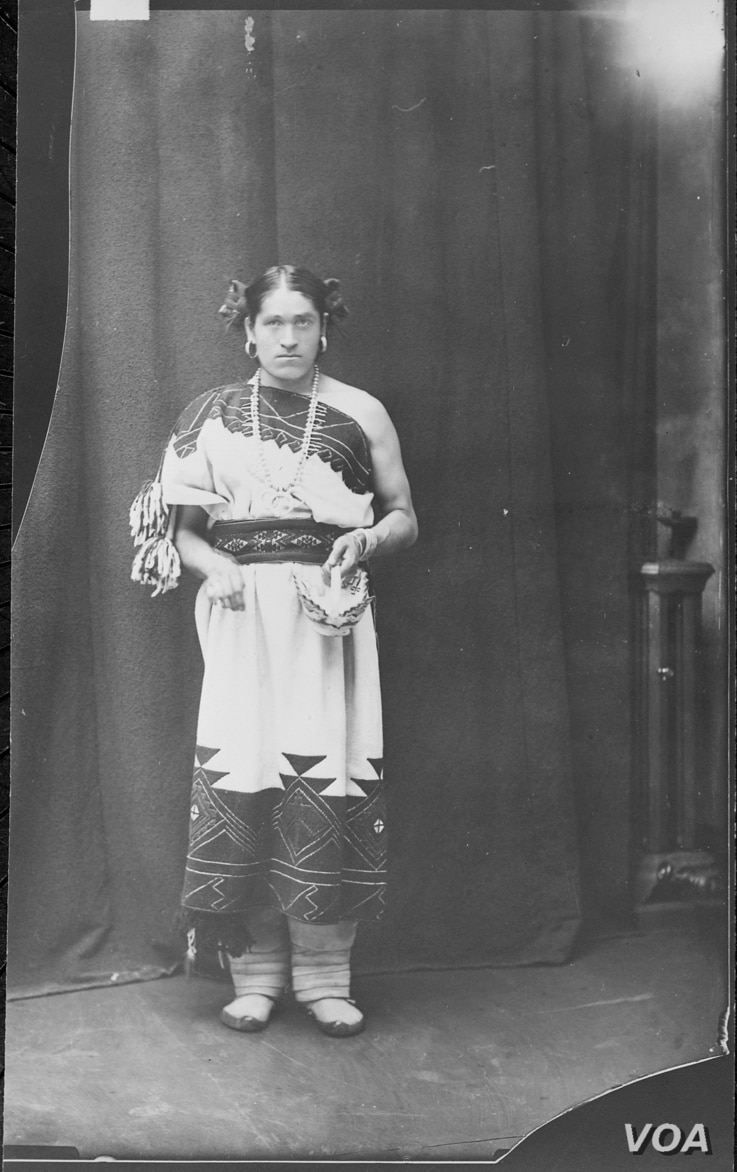 """A ca. 1886 photograph of We'wha (Zuni, N.M.), a famous lhamana (""""like a woman""""), the traditional Zuni gender role now described as two spirit. Courtesy: U.S. National Archives and Records Administration - 523798"""