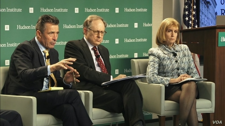 Former NATO Secretary General Anders Fogh Rasmussen (left) and former NATO Deputy Secretary General Alexander Vershbow (center) participate in a Hudson Institute forum in Washington, March 30, 2017.