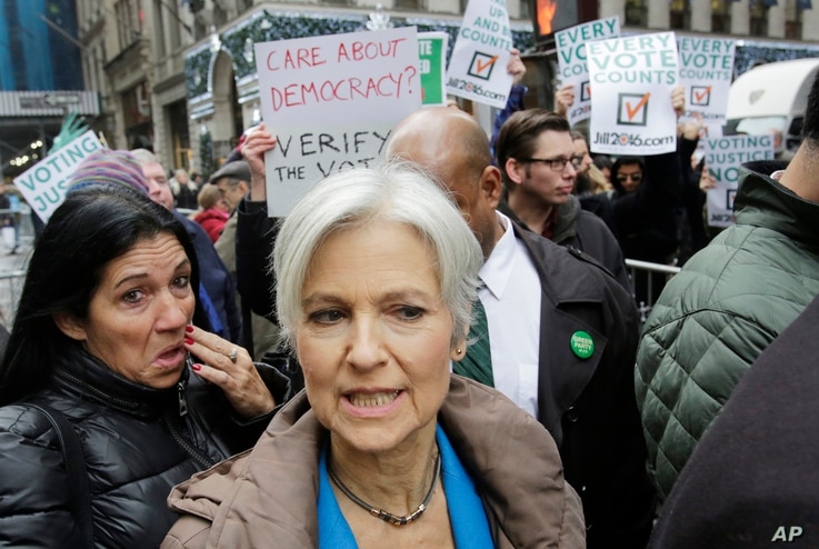 Jill Stein, the presidential Green Party candidate, arrives for a news conference in front of Trump Tower, Dec. 5, 2016, in New York.