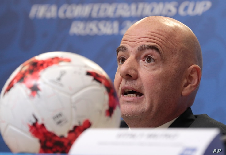 FIFA President Gianni Infantino speaks during a news conference at the St. Petersburg Stadium, Russia, July 1, 2017. Chile lost to  Germany in the Confederations Cup final.