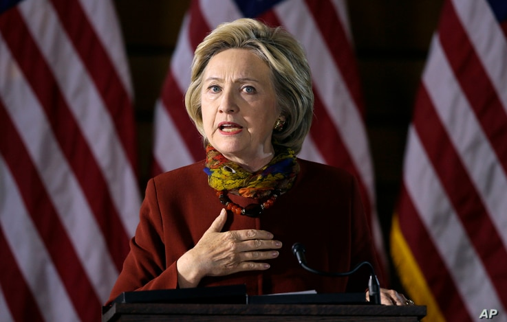 Democratic presidential candidate Hillary Clinton speaks about her counterterrorism strategy during a speech Dec. 15, 2015, at the University of Minnesota in Minneapolis.