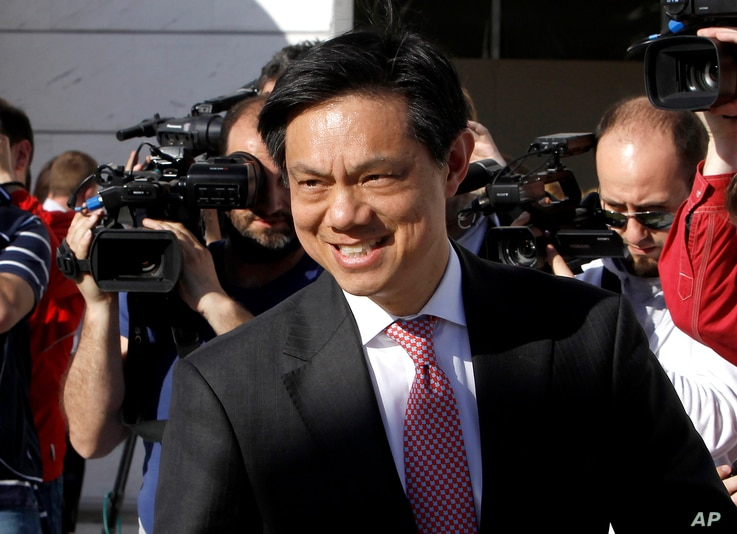 U.S. Deputy Assistant Secretary of State Hoyt Yee leaves after his meeting with Macedonian Prime Minister Nikola Gruevski in Skopje, April 16, 2015.