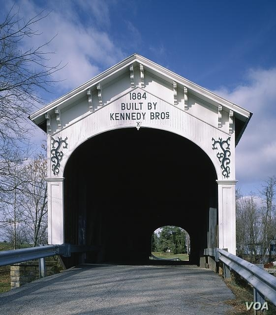 The Kennedys, a large bridge-building family, designed and built this lovely covered bridge in rural Rush County, Indiana. (Carol M. Highsmith)