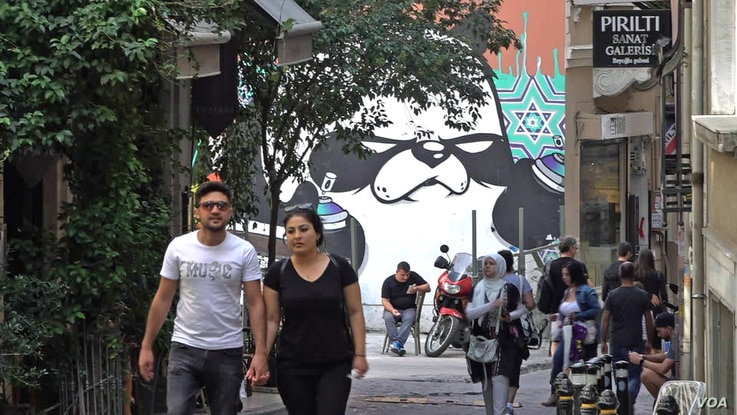 Giant graffiti images are emerging across central Istanbul as restrictions on social and political expression tighten.