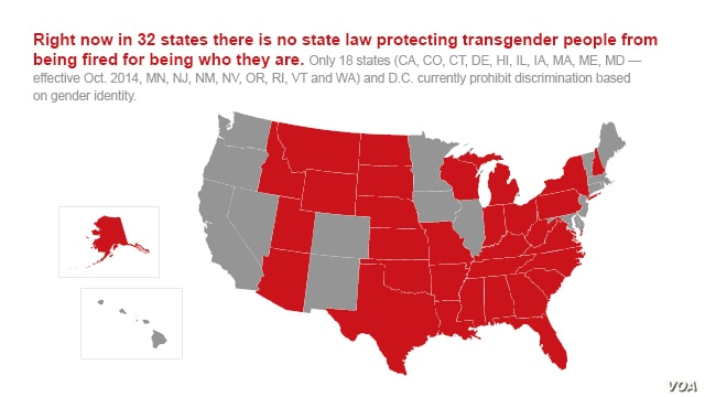 Graphic map of states which don't have laws protecting transgender people.