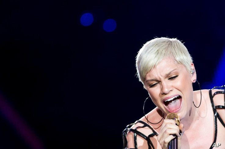 Jesse J. performs during the Rock in Rio music festival in Rio de Janeiro, Brazil, Sept. 15, 2013.