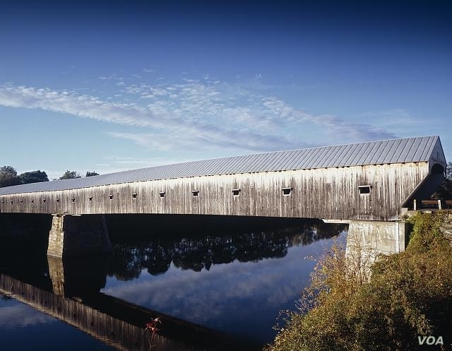 At 137 meters, this is America's longest covered bridge, over the Connecticut River between Cornish, New Hampshire, and Windsor, Vermont.  (Carol M. Highsmith)