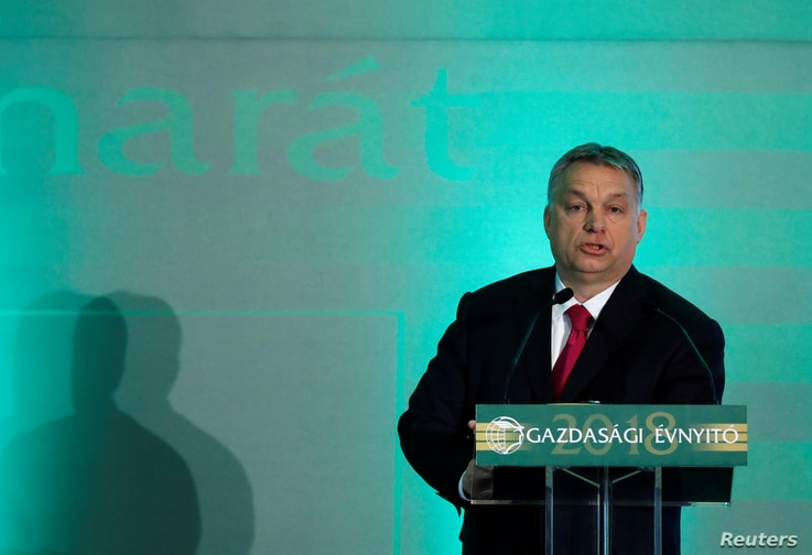 Hungarian Prime Minister Viktor Orban talks during a forum of the chamber of industry in Budapest, Hungary, March 6, 2018.