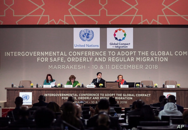 From left, Maria Fernanda Espinosa, President of the United Nations General Assembly, Special Representative of the United Nations Secretary-General for International Migration Louise Arbour, Moroccan Minister of Foreign Affairs and International Coo...