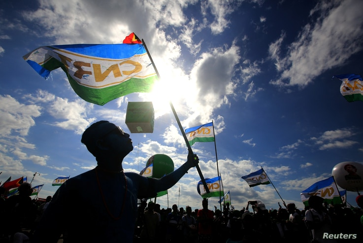Supporters of the the National Congress for Timorese Reconstruction (CNRT) political party attend a rally ahead of this weekend's parliamentary elections in Dili, East Timor, July 18, 2017.