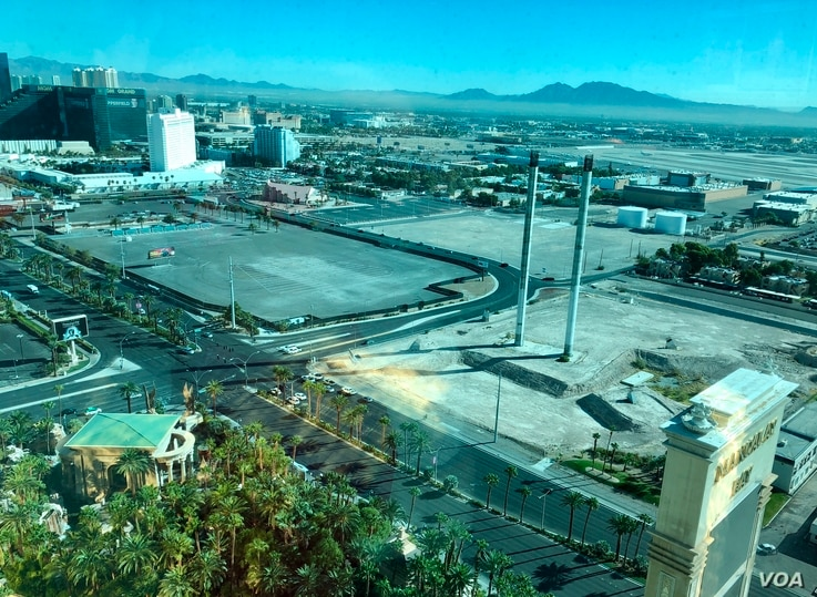 Near Stephen Paddock's vantage point from the 32nd story of the Mandalay Bay hotel, where he shot and killed 58. About 22,000 attended the 2017 country music festival in the open lot on the left.