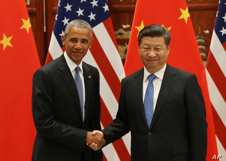 U.S. President Barack Obama, left, and Chinese President Xi Jinping shake hands at the West Lake State Guest House in Hangzhou, China, Sept. 3, 2016, on the sidelines of the G-20 summit.