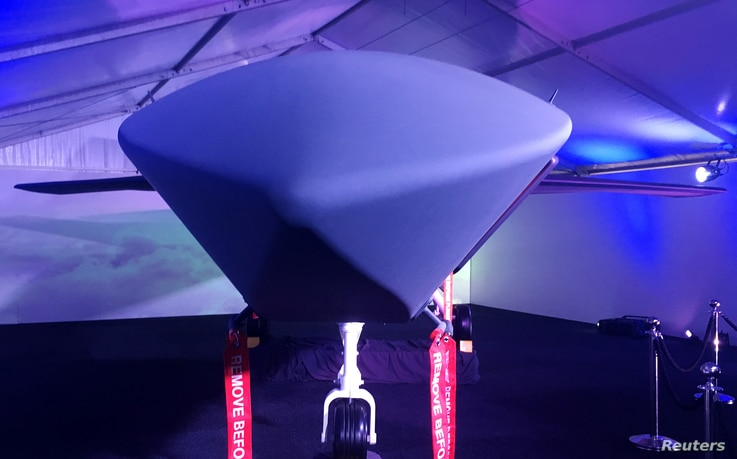 A model of Boeing CoÕs new unmanned, fighter-like jet, called the Boeing Airpower Teaming System, is displayed in Avalon, Australia February 27, 2019.