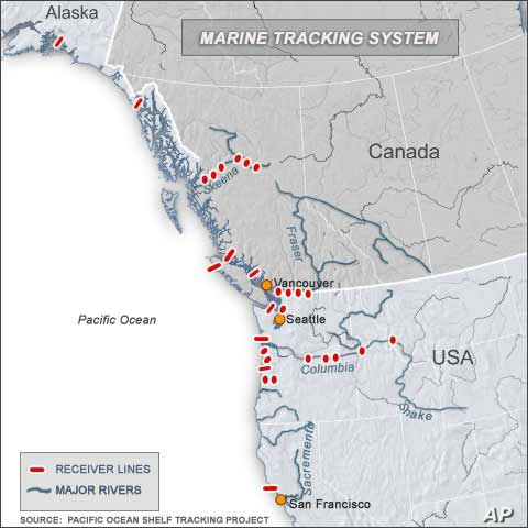 POST hopes to have listening lines deployed from shore to the edge of the continental shelf from the Bering Sea in Alaska south to Mexico.