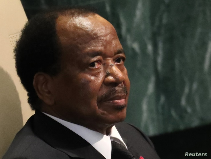 President Paul Biya of Cameroon waits to address the 71st United Nations General Assembly in New York, Sept. 22, 2016.