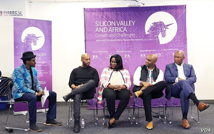 VOA's Jackson M'vunganyi, in hat, speaks with panelists: from left, Yonas Beshawred, founder of StackShare; Michelle Stewart, attorney at Covington & Burling; Stephen Ozoigbo, CEO, African Technology Foundation; and Andile Ngcaba, founder of Converge...