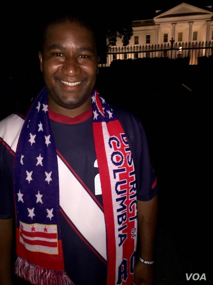 American soccer fan Donald Wine celebrates the U.S. women's national team World Cup final victory with the American Outlaws outside the White House, Sunday, July 5.