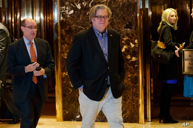 FILE - In this Friday, Nov. 11, 2016, file photo, Stephen Bannon, campaign CEO for President-elect Donald Trump, leaves Trump Tower in New York.