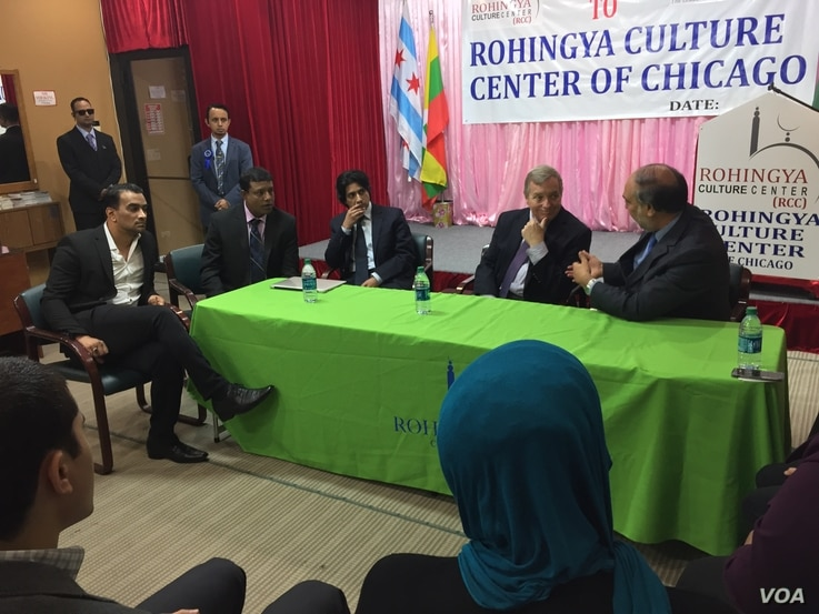 After Senator Dick Durbin, seated center, talked with local Rohingya leaders, Durbin told VOA he wants the U.S. to immediately terminate military-to-military contact with Myanmar