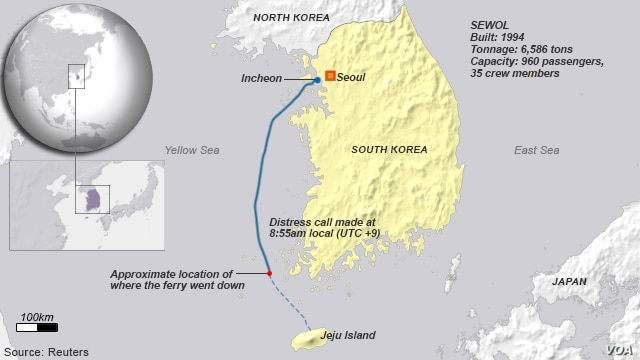 South Korea, approximate location of ferry sinking