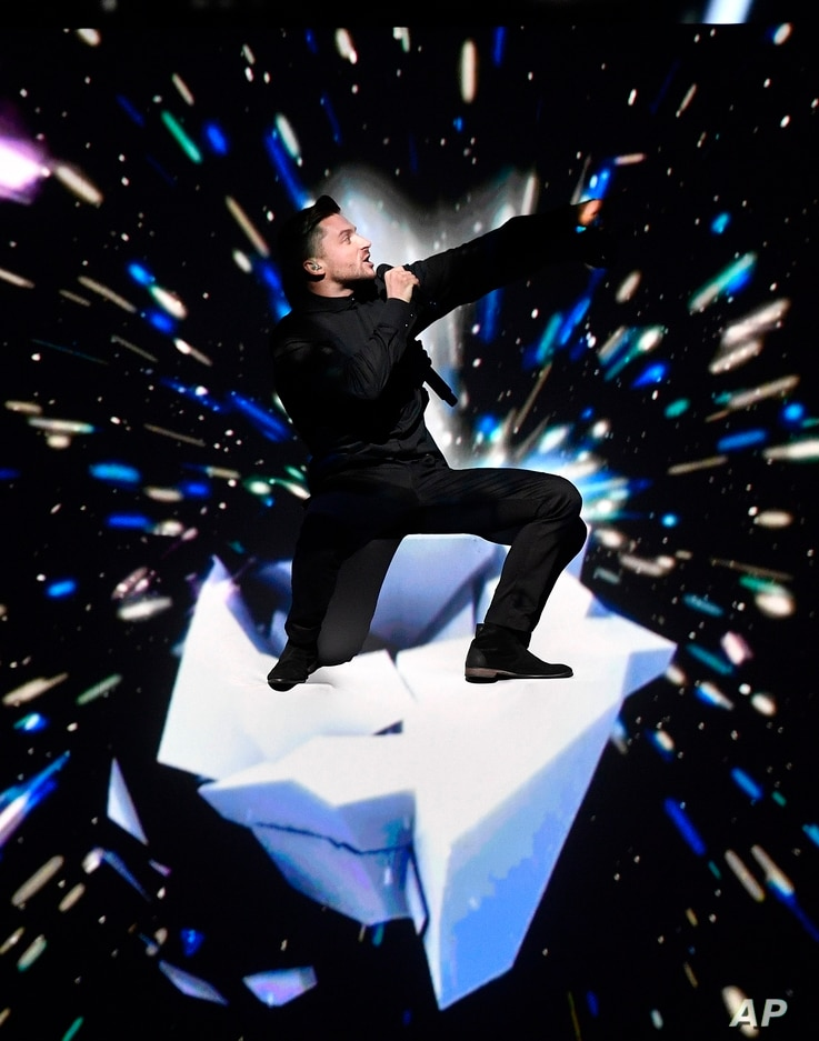 """Russia's Sergey Lazarev performs the song """"You Are the Only One"""" during the Eurovision song contest final in Stockholm, Sweden, May 14, 2016."""