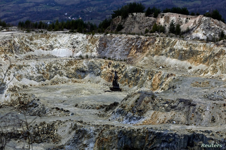 A general view of an old quarry near Rosia Montana, central Romania, March 24, 2014. In a surprise move this week, the outgoing Romania government submitted an application to UNESCO to designate Rosia Montana a World Heritage site.