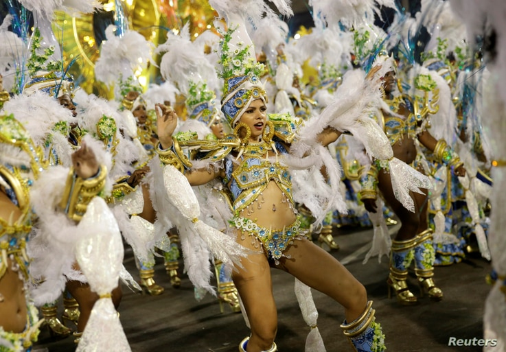 Revellers from Uniao da Ilha samba school perform during the second night of the carnival parade at the Sambadrome in Rio de Janeiro, Brazil, Feb. 27, 2017.