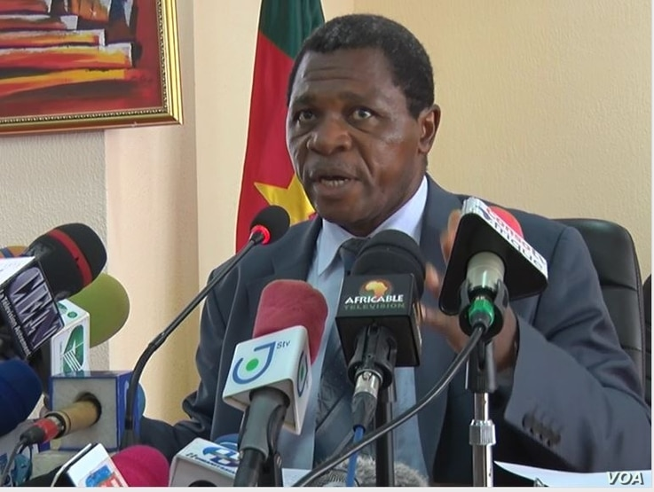 Cameroon's territorial administration minister, Paul Atanga Nji, speaks during a news conference in Yaounde, April 4, 2019.