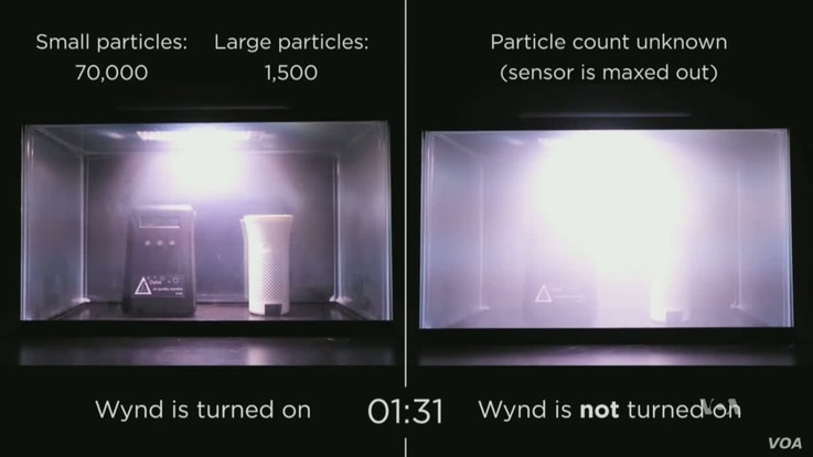 Wynd air purification system analyzes air for particles in your environment and cleans as needed.