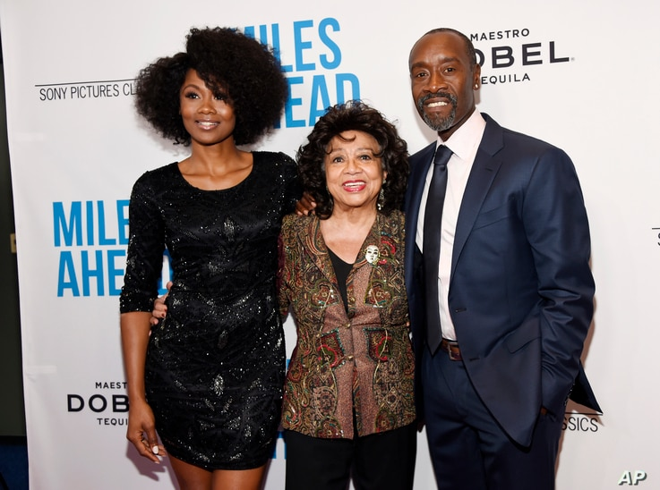 "Don Cheadle, right, the star, director and co-screenwriter of ""Miles Ahead,"" poses with Frances Davis, center, ex-wife of legendary jazz trumpeter Miles Davis, and cast member Emayatzy Corinealdi at the premiere of the film at the Writers Guild Theat..."