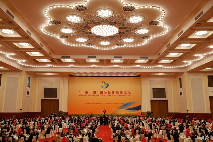 Chinese President Xi Jinping delivers his speech during the welcoming banquet for the Belt and Road Forum at the Great Hall of the People in Beijing, May 14, 2017.