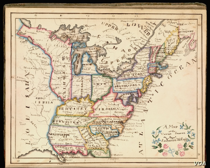 "From 1790 to the 1830s, thousands of schoolgirls, including Catharine Cook in 1818, displayed their knowledge of geography, art, and penmanship in painstakingly produced maps. (From ""A History of America in 100 Maps""/Courtesy of Osher Map Library)"