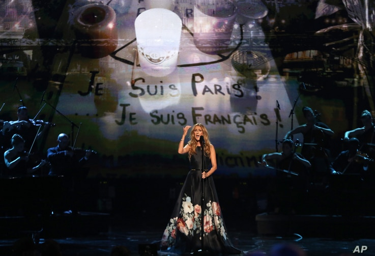 Celine Dion performs at the American Music Awards at the Microsoft Theater on Nov. 22, 2015, in Los Angeles.