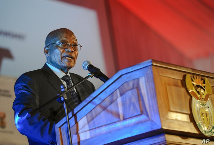South African President Jacob Zuma speaks at the official launch of the Trans-Africa Locomotive prototype near Pretoria, April 4, 2017.