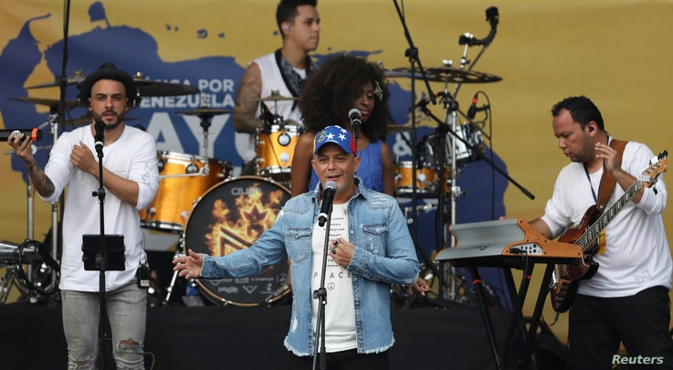 Spanish singer Alejandro Sanz performs in the Venezuela Aid Live concert on the Colombian side of the Tienditas International Bridge near Cucuta, Colombia, on the border with Venezuela,  Feb. 22, 2019.