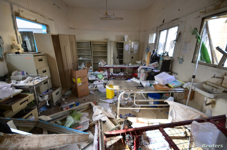 Damage is seen inside a hospital operated by Medecins Sans Frontieres after it was hit by a Saudi-led coalition air strike in the Abs district of Hajja province, Yemen, August 16, 2016.