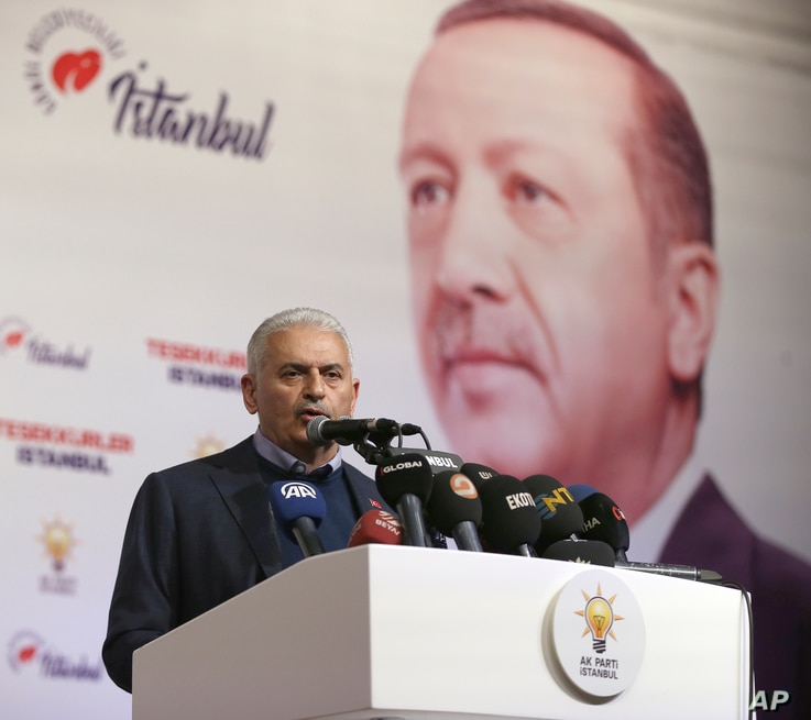 Binali Yildirim, former prime minister and AKP mayoral candidate for Istanbul, gives a statement in Istanbul, March 31, 2019.