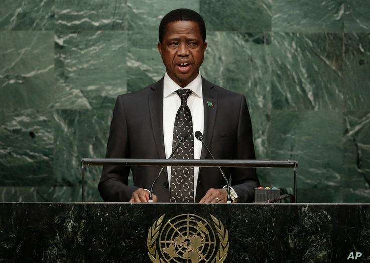 FILE - In this September. 2015, photo, Zambia's President Edgar Lungu speaks during the 70th session of the United Nations General Assembly at U.N. headquarters.