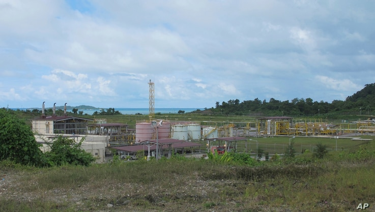 FILE - The terminal of a gas pipeline to the Bay of Bengal was built by South Korean company Daewoo in Kyaukpyu in the Rakhine region, Myanmar, Oct. 5, 2016. Pipelines, an oil refinery, a deep-water port and other projects may create few jobs for Bu...